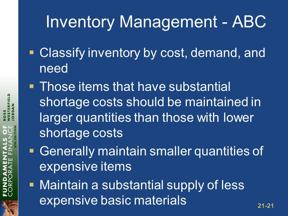 EOQ Model The EOQ model minimizes the total inventory cost