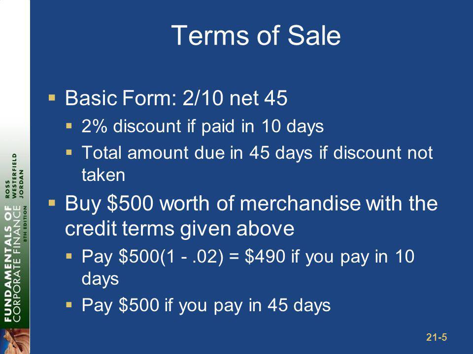 Example: Cash Discounts