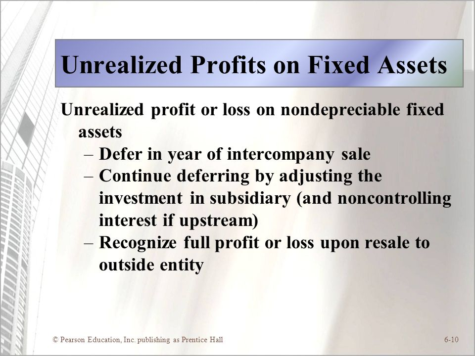 Unrealized Profits on Fixed Assets
