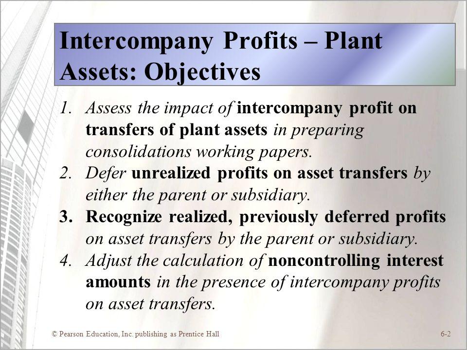 Intercompany Profits – Plant Assets: Objectives