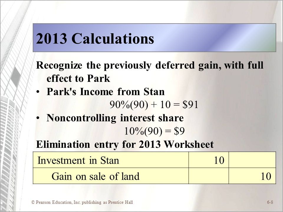 2013 Calculations Recognize the previously deferred gain, with full effect to Park. Park s Income from Stan.