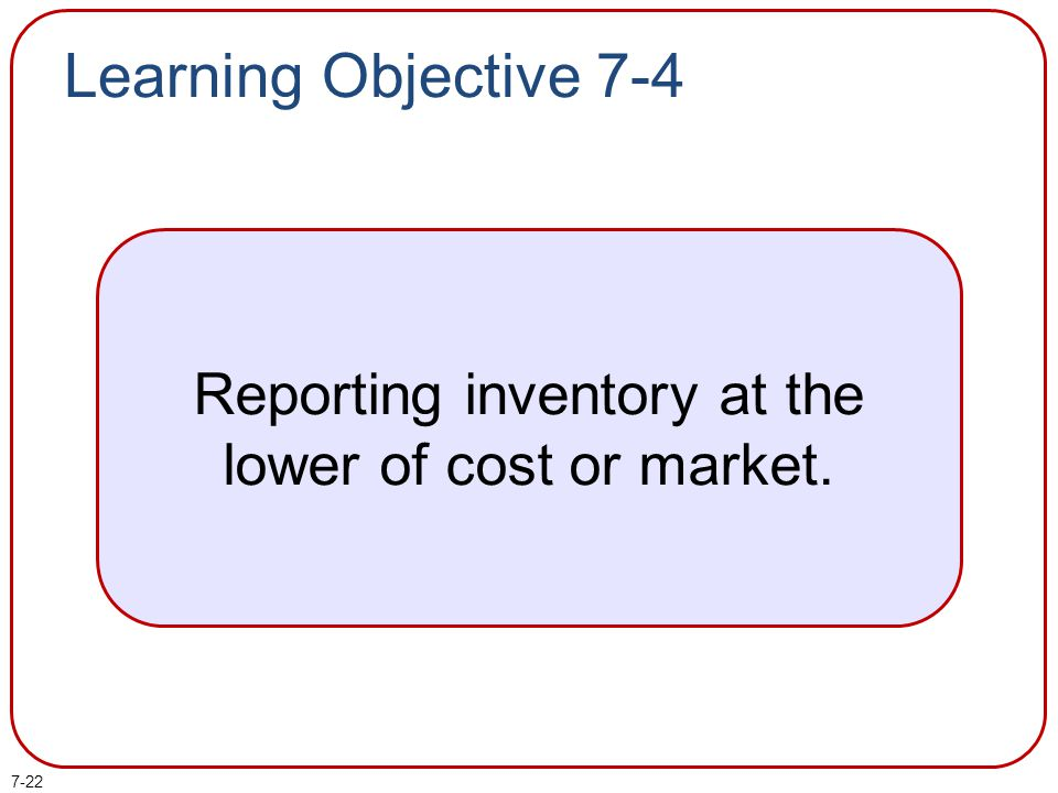 Reporting inventory at the lower of cost or market.