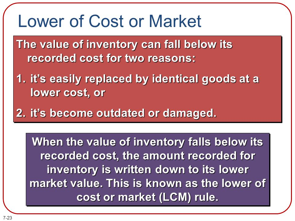 Lower of Cost or Market The value of inventory can fall below its recorded cost for two reasons: