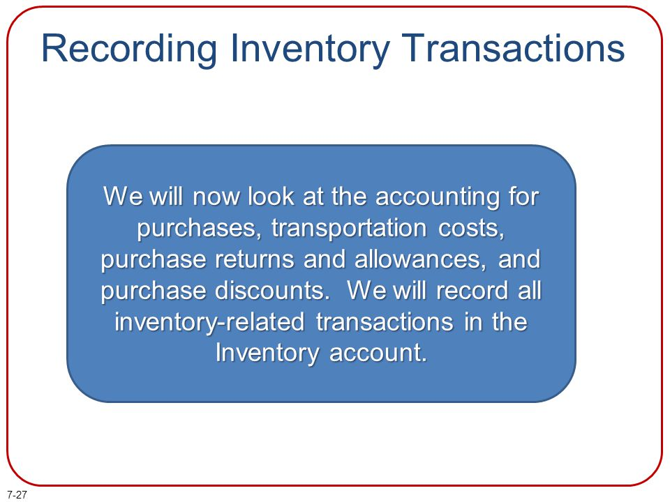 Recording Inventory Transactions