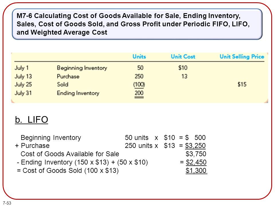 M7-6 Calculating Cost of Goods Available for Sale, Ending Inventory, Sales, Cost of Goods Sold, and Gross Profit under Periodic FIFO, LIFO, and Weighted Average Cost