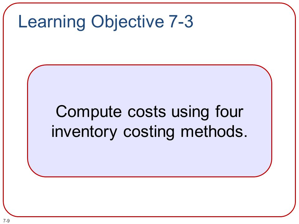 Compute costs using four inventory costing methods.