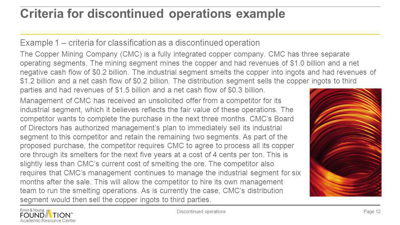 Criteria for discontinued operations example
