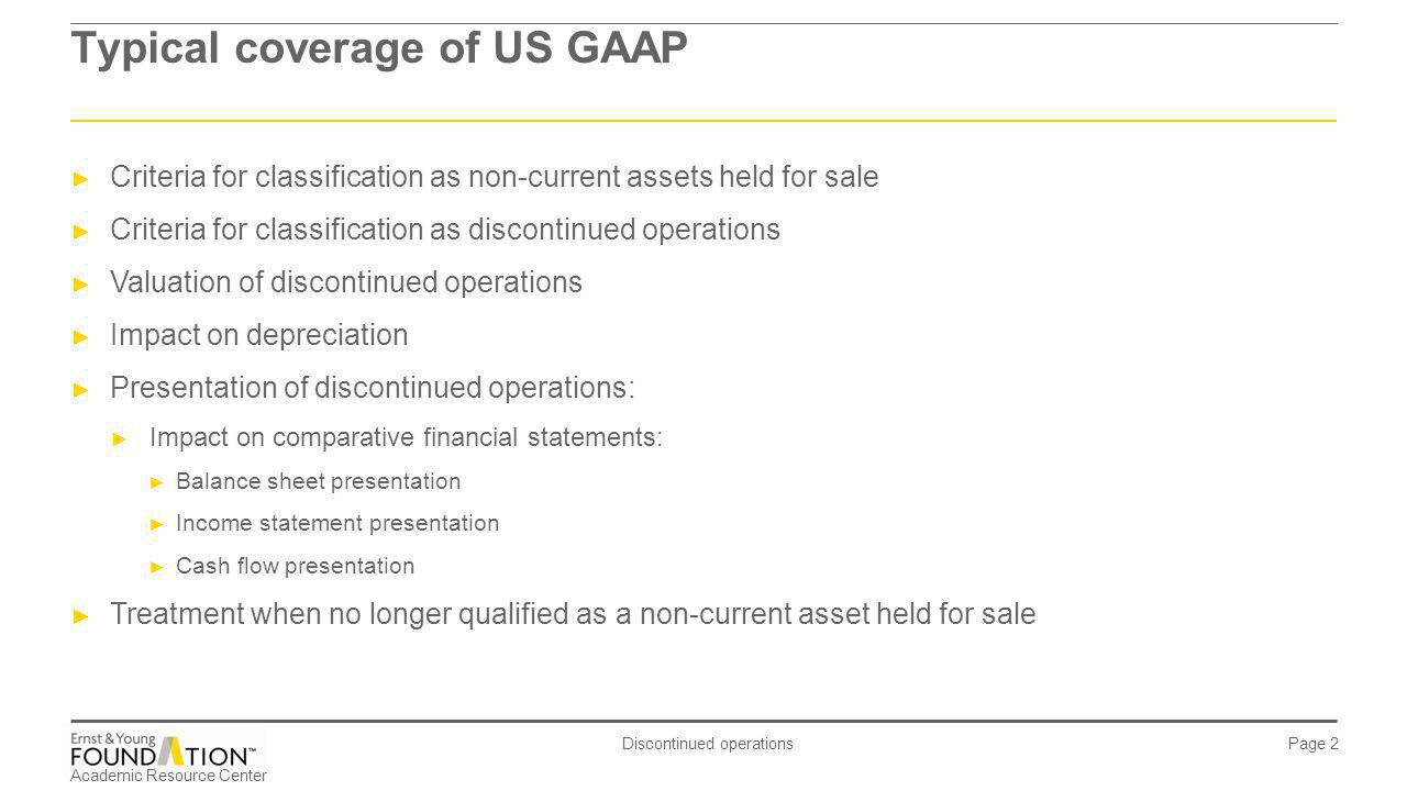 Typical coverage of US GAAP