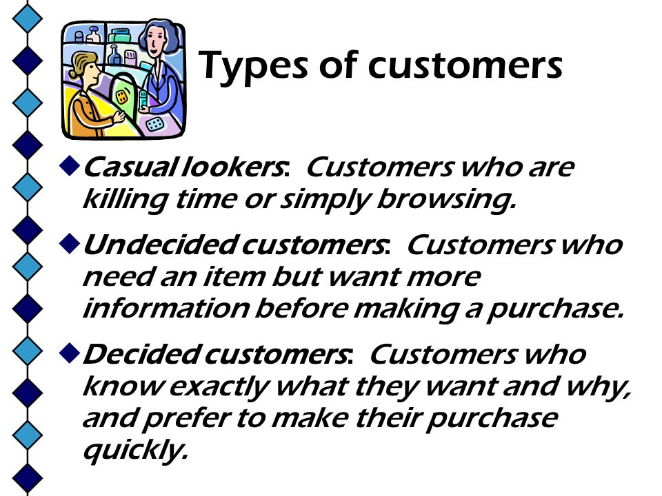 Types of customers Casual lookers: Customers who are killing time or simply browsing.