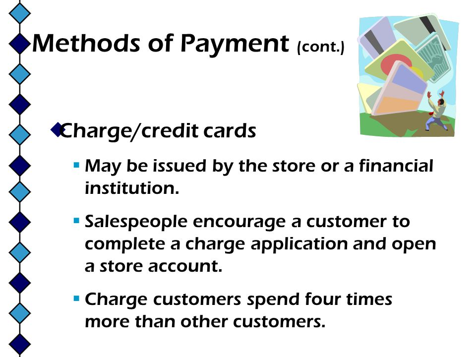 Methods of Payment (cont.)