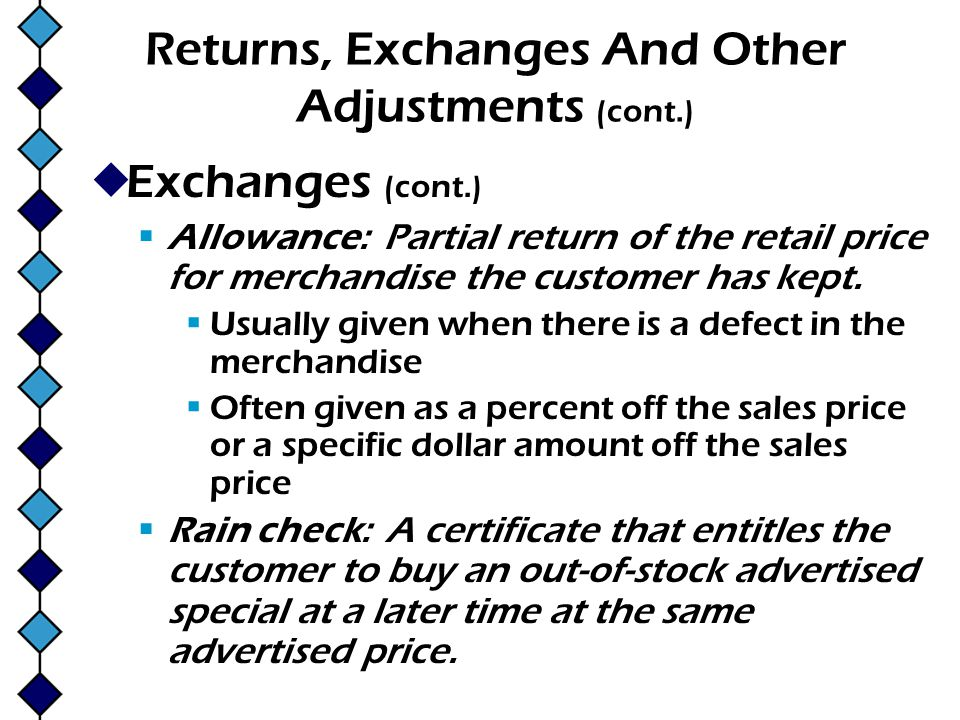 Returns, Exchanges And Other Adjustments (cont.)