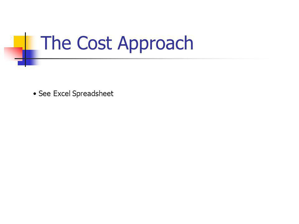 The Cost Approach See Excel Spreadsheet