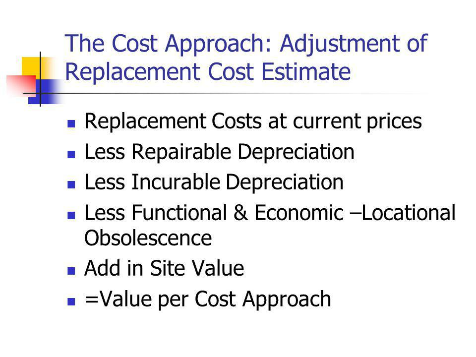 The Cost Approach: Adjustment of Replacement Cost Estimate