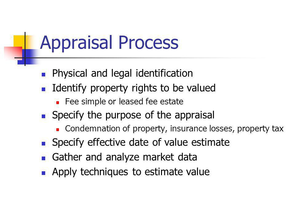 Appraisal Process Physical and legal identification