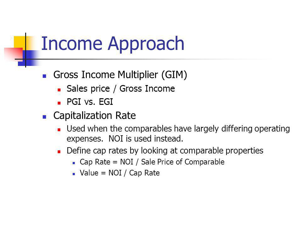 Income Approach Gross Income Multiplier (GIM) Capitalization Rate
