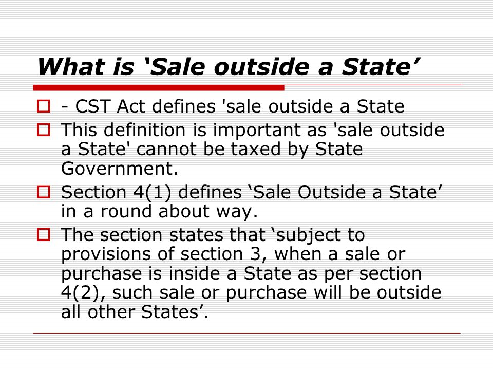 What is 'Sale outside a State'