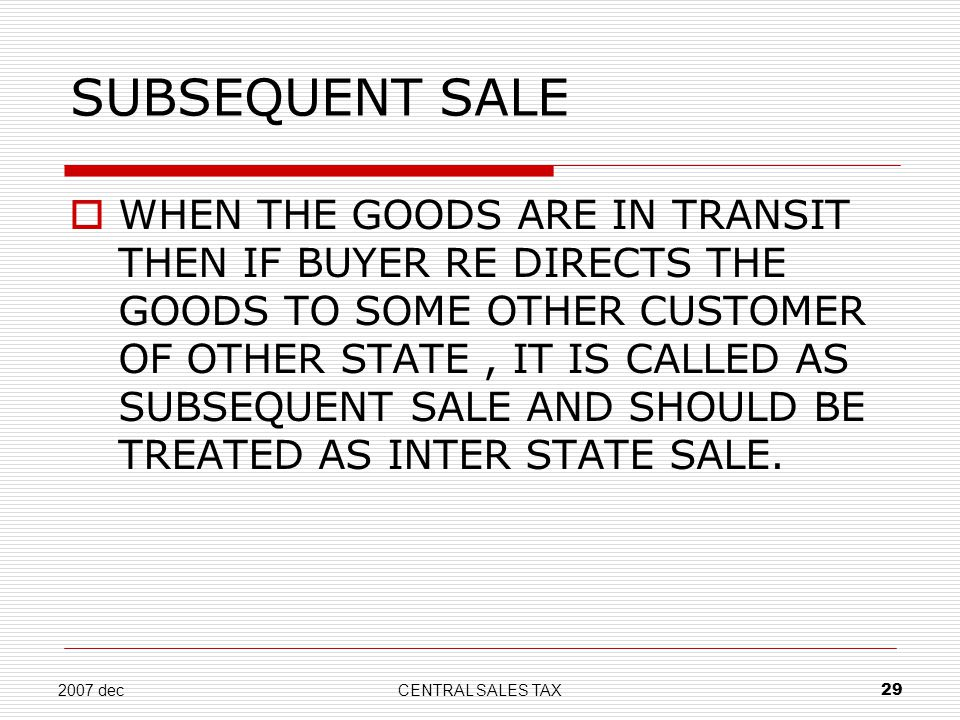 SUBSEQUENT SALE
