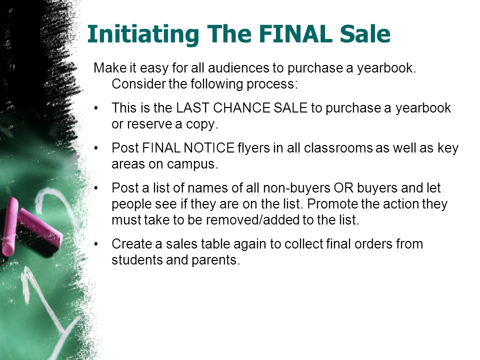 Initiating The FINAL Sale