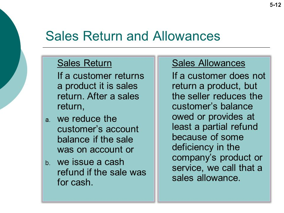 Sales Return and Allowances