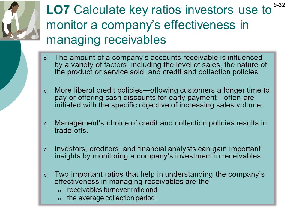 LO7 Calculate key ratios investors use to monitor a company's effectiveness in managing receivables