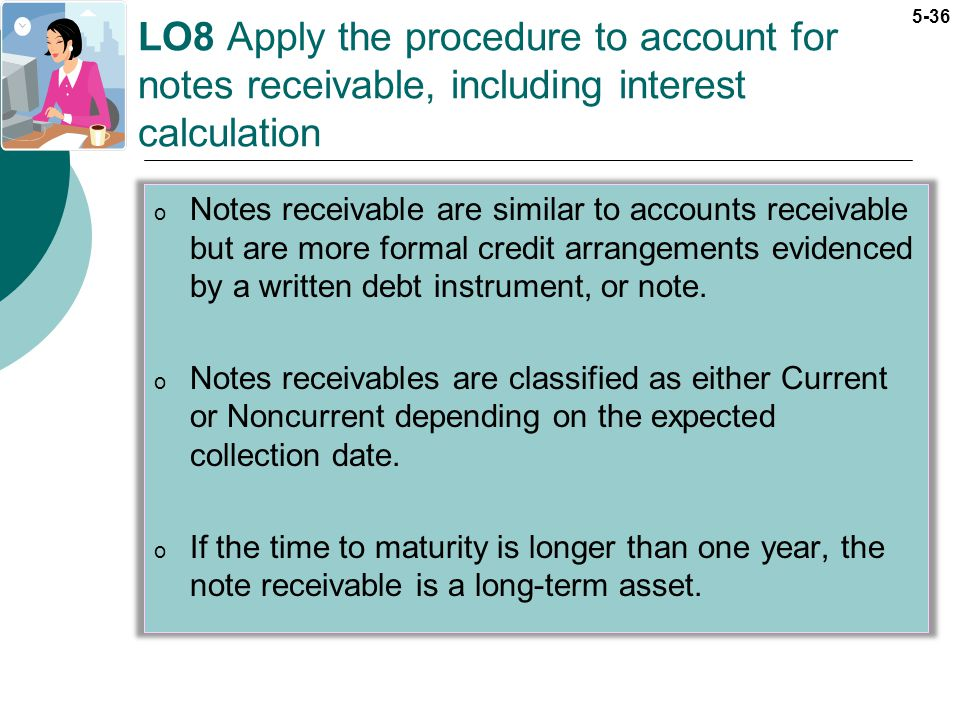 LO8 Apply the procedure to account for notes receivable, including interest calculation