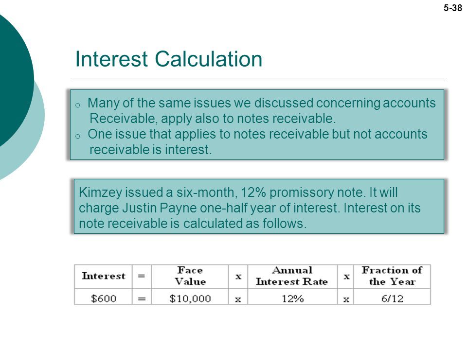 Interest Calculation Many of the same issues we discussed concerning accounts. Receivable, apply also to notes receivable.
