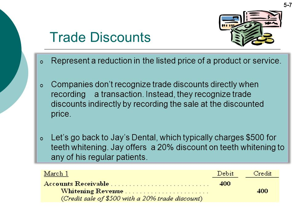 Trade Discounts Represent a reduction in the listed price of a product or service.