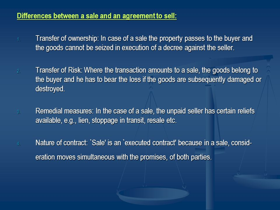 Differences between a sale and an agreement to sell: