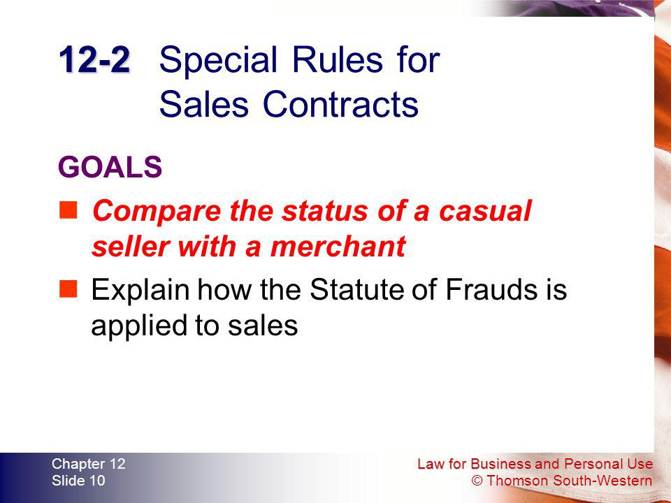 12-2 Special Rules for Sales Contracts