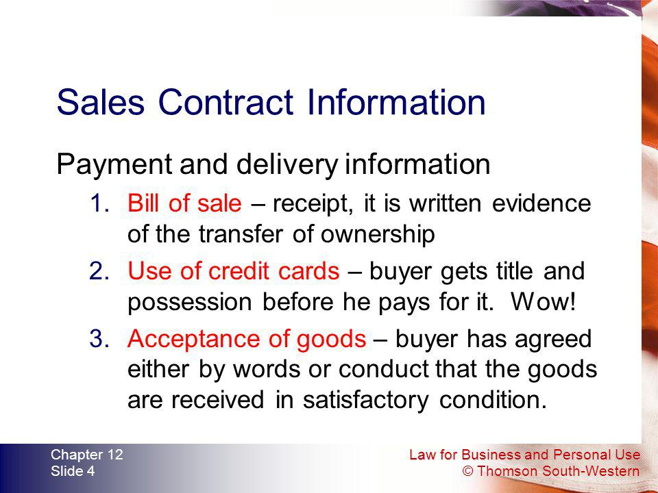 Sales Contract Information