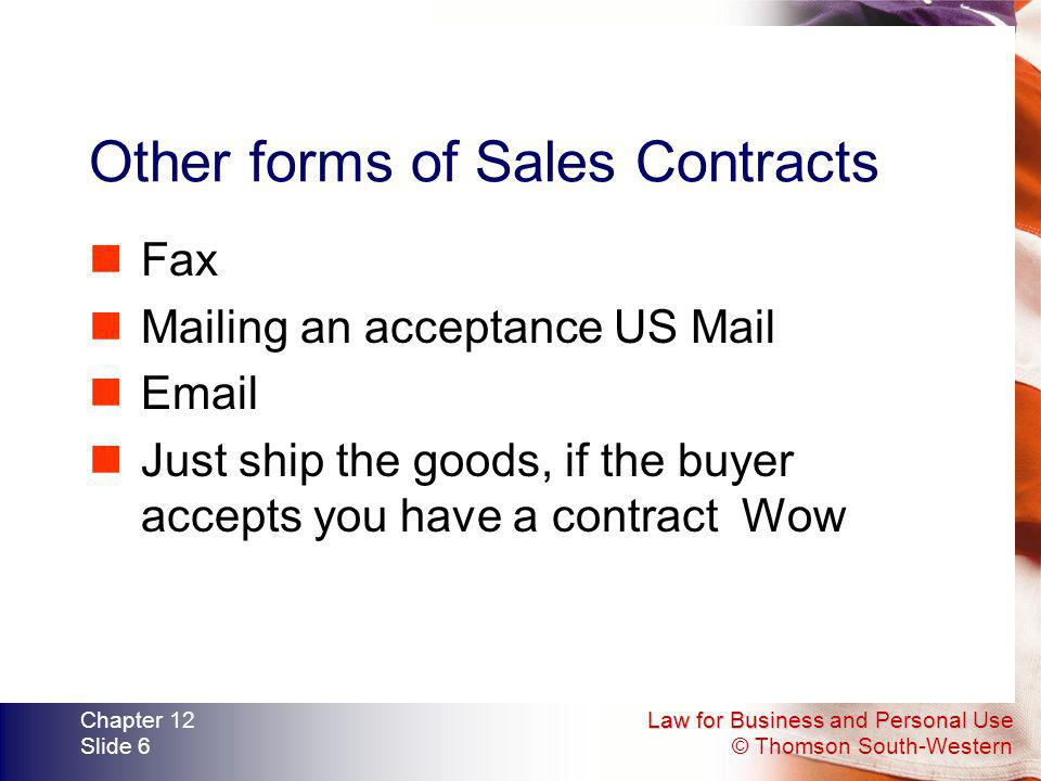 Other forms of Sales Contracts