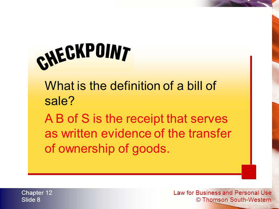 What is the definition of a bill of sale