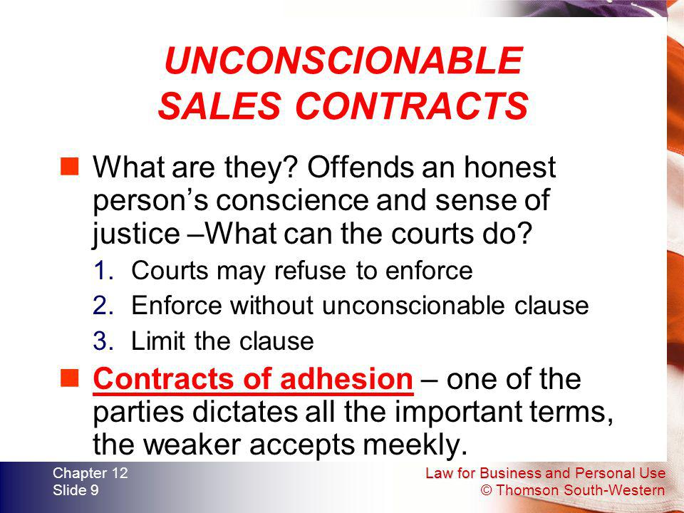 UNCONSCIONABLE SALES CONTRACTS