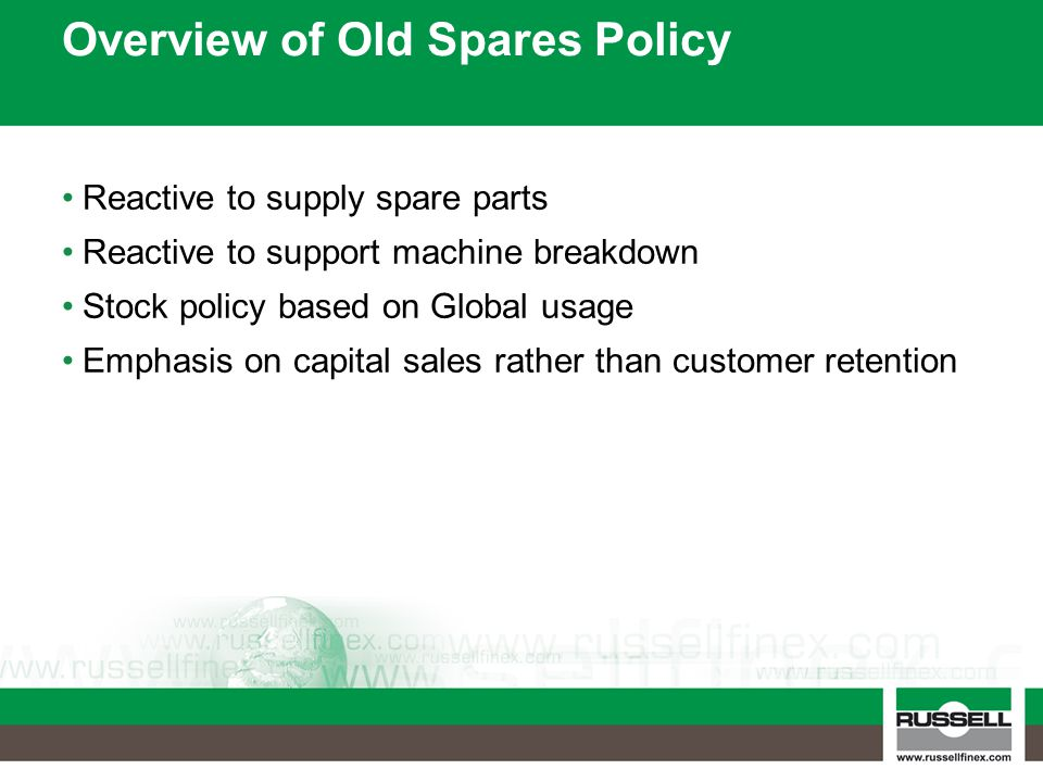 Overview of Old Spares Policy