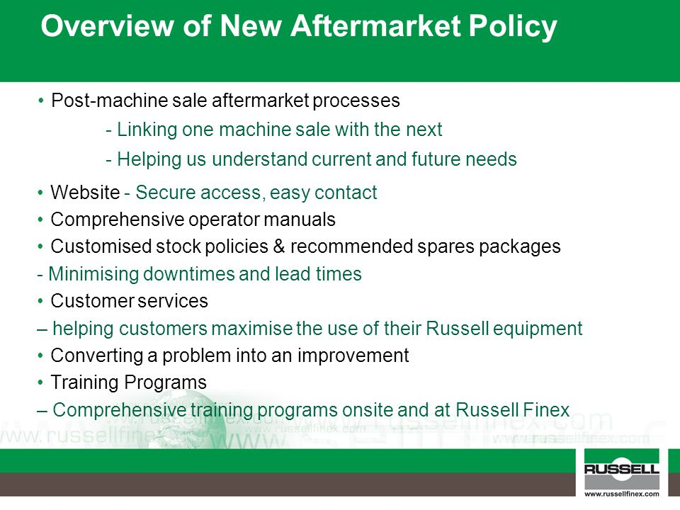 Overview of New Aftermarket Policy