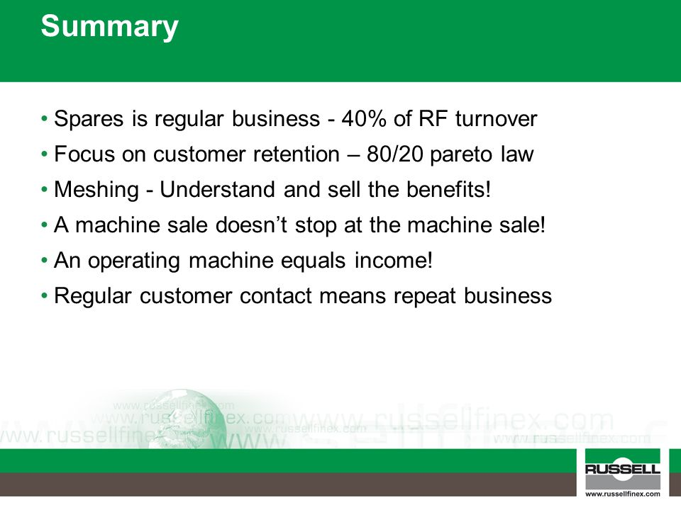 Summary Spares is regular business - 40% of RF turnover
