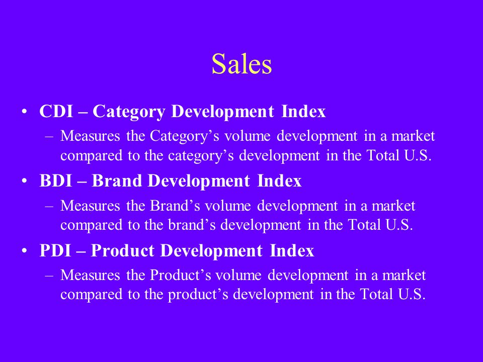 Sales CDI – Category Development Index BDI – Brand Development Index