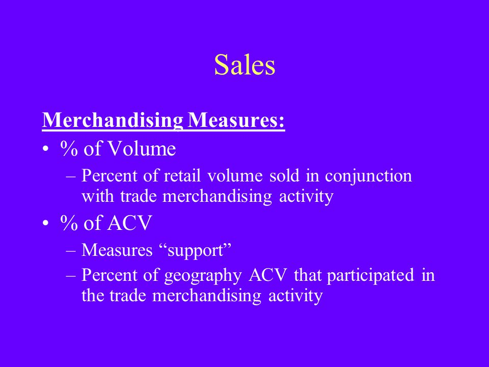 Sales Merchandising Measures: % of Volume % of ACV