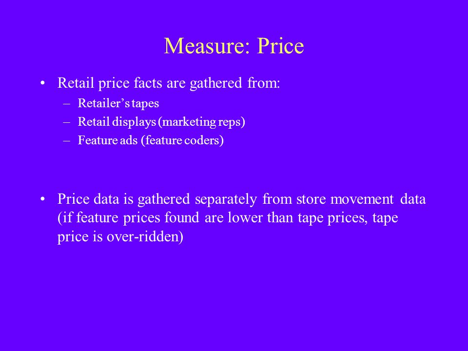 Measure: Price Retail price facts are gathered from: