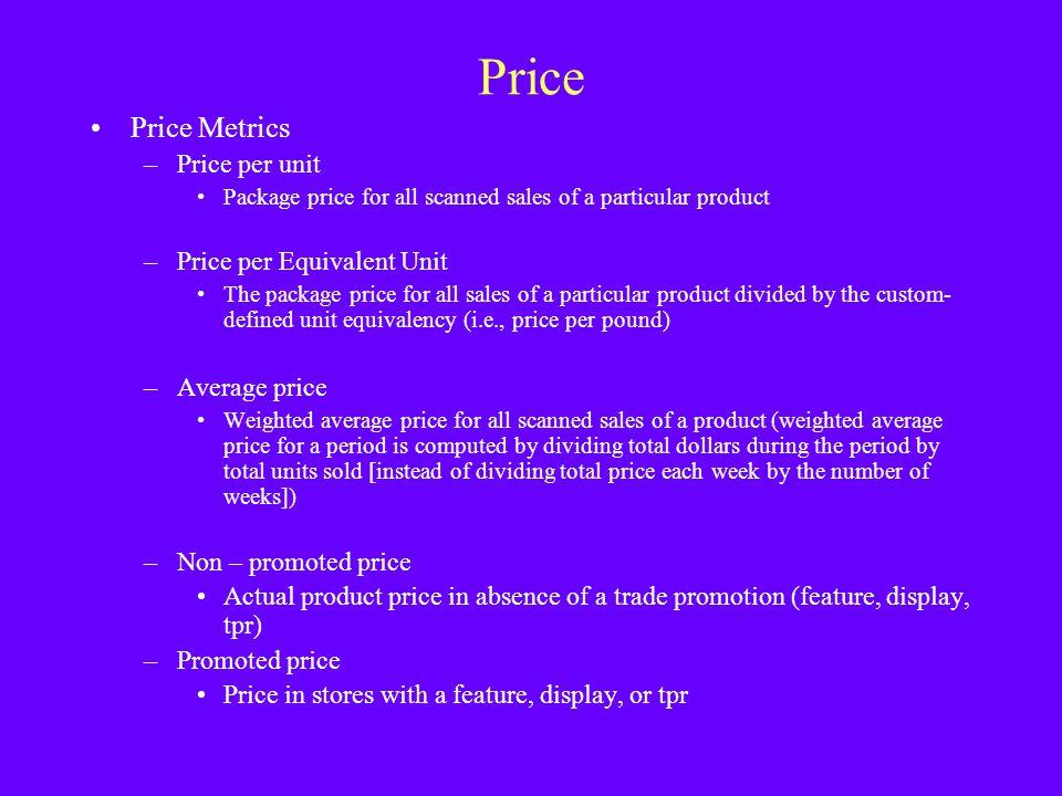 Price Price Metrics Price per unit Price per Equivalent Unit