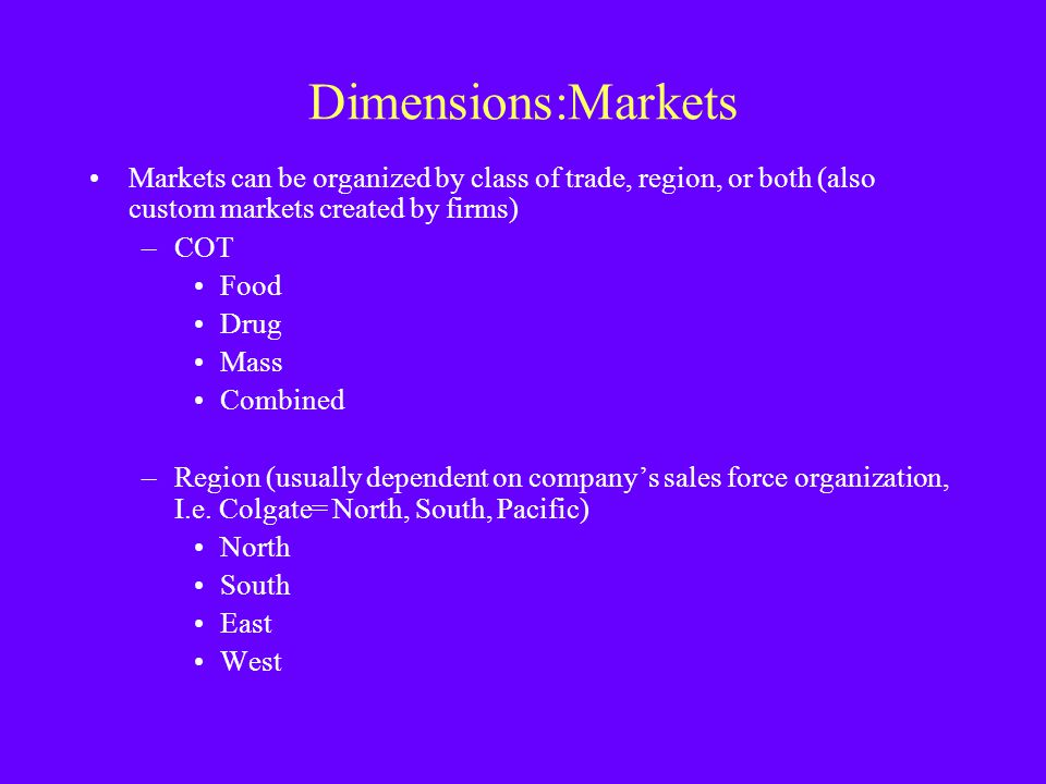 Dimensions:Markets Markets can be organized by class of trade, region, or both (also custom markets created by firms)