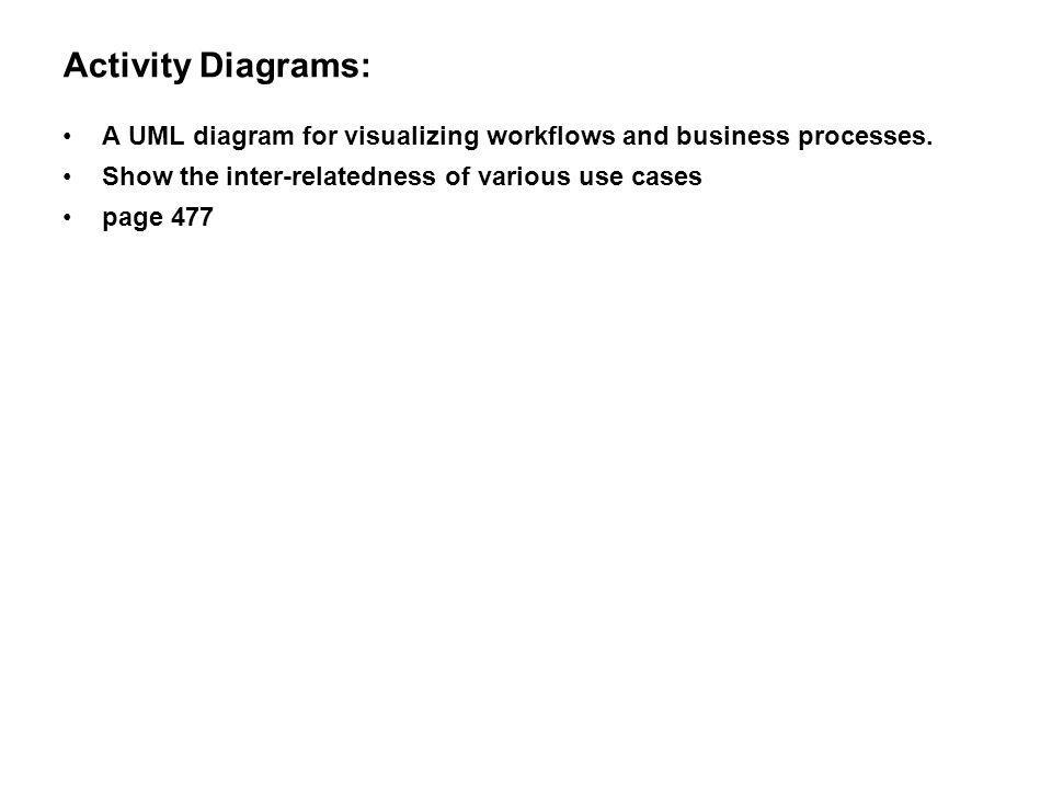 Activity Diagrams: A UML diagram for visualizing workflows and business processes. Show the inter-relatedness of various use cases.