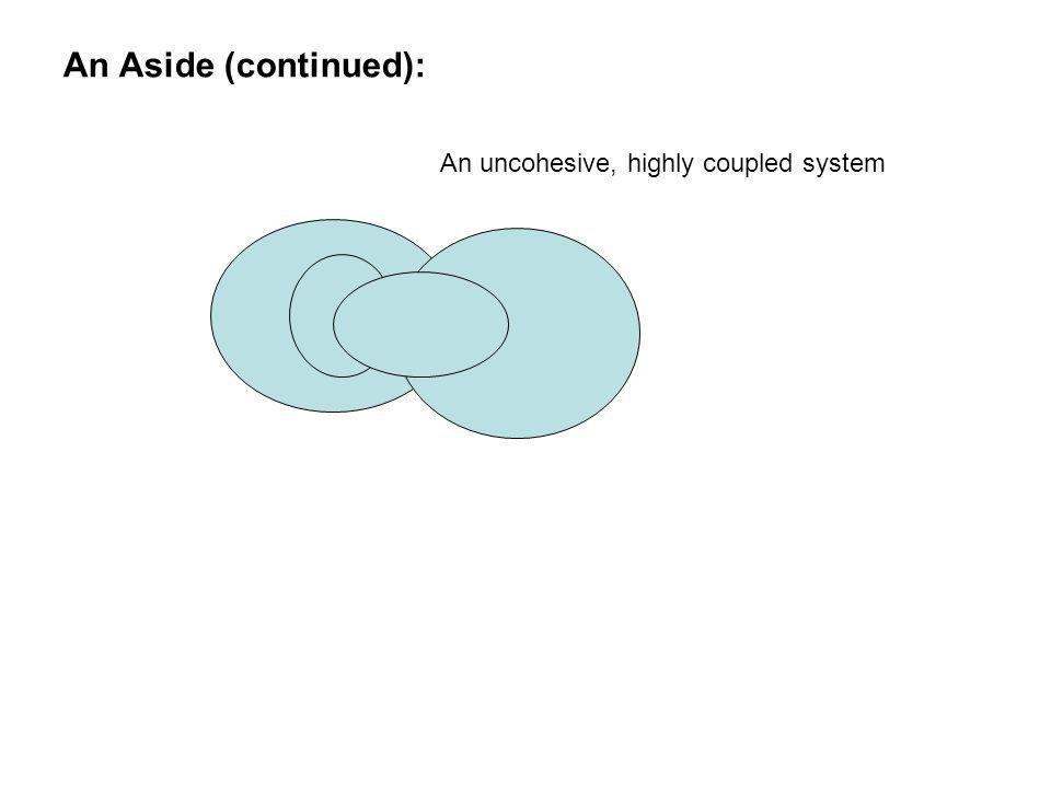 An Aside (continued): An uncohesive, highly coupled system