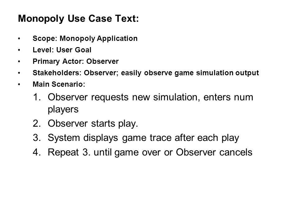 Monopoly Use Case Text: