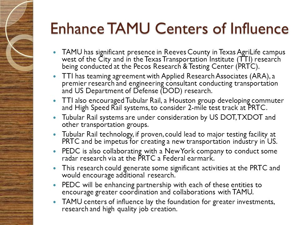 Enhance TAMU Centers of Influence