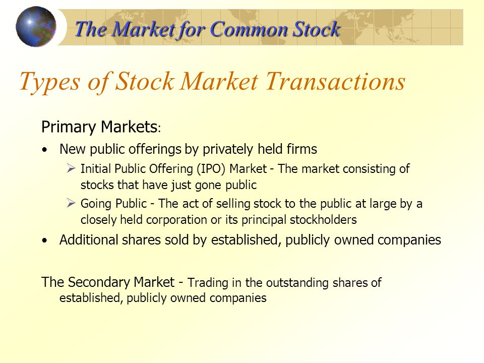 Types of Stock Market Transactions