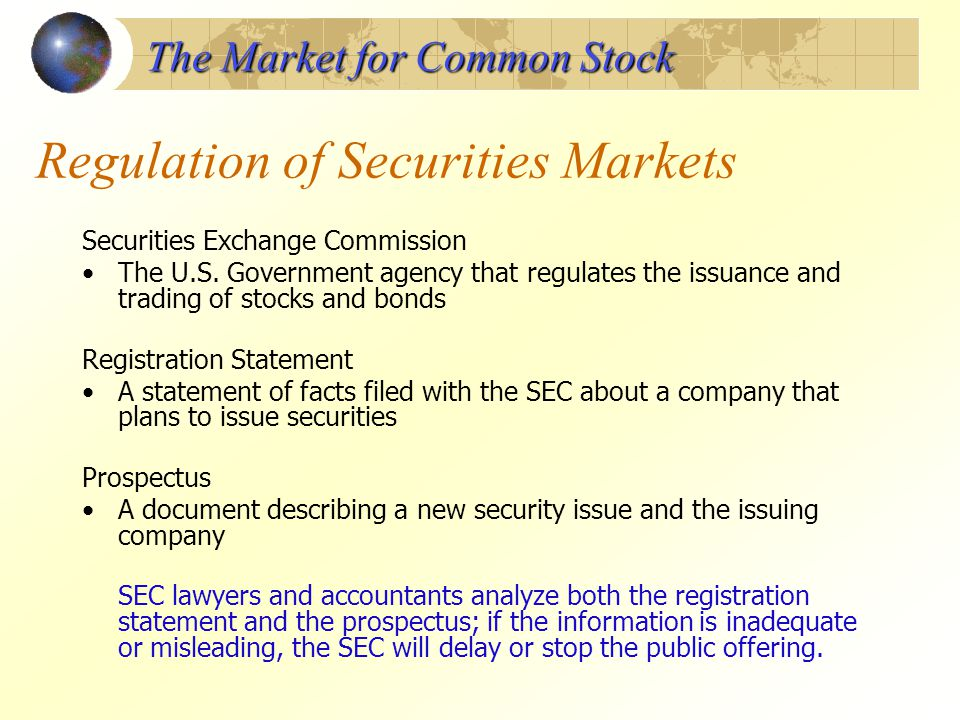 regulation of the stock market in Regulation of the financial services industry the securities market is regulated by  the securities and exchange commission (sec), which is the primary overseer.