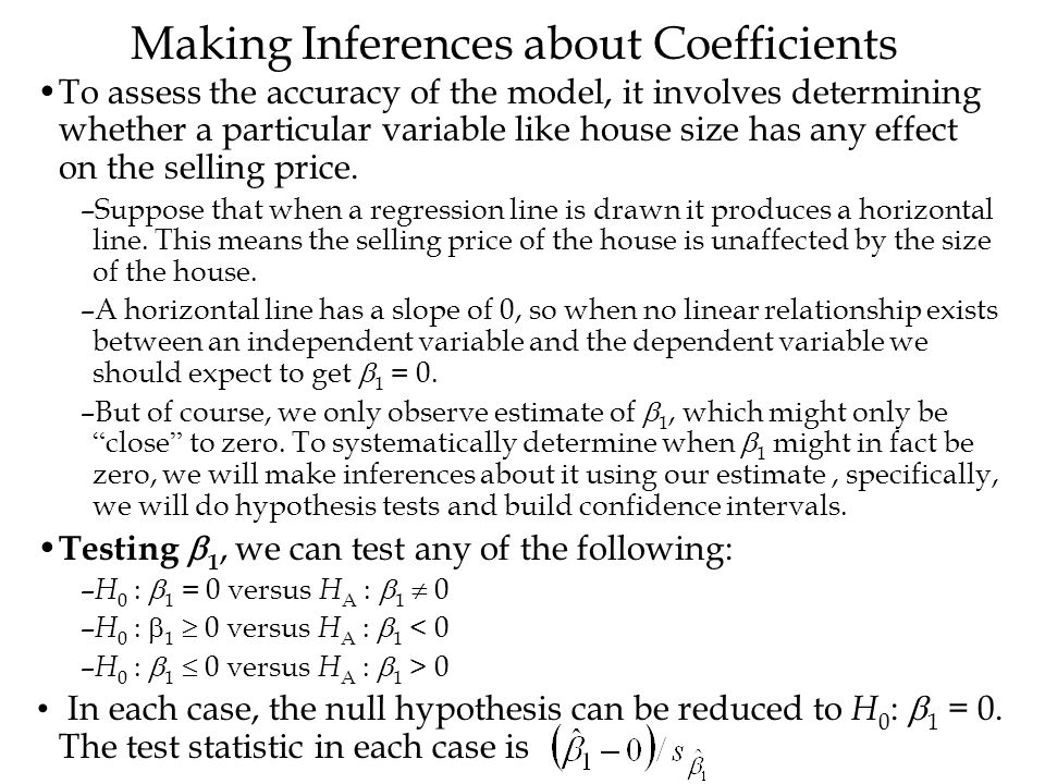 Making Inferences about Coefficients