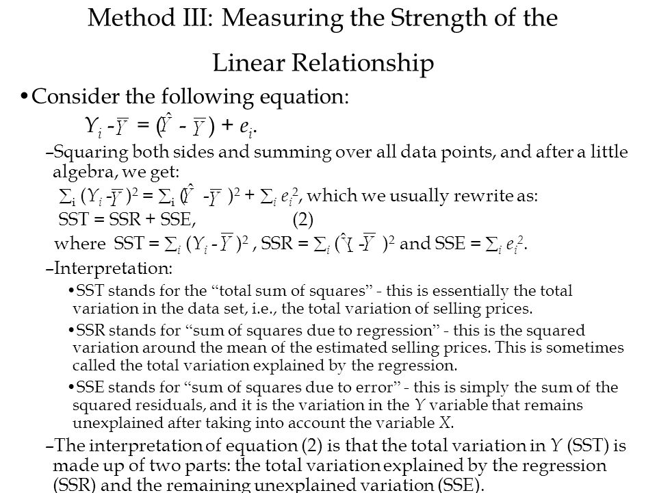 Method III: Measuring the Strength of the Linear Relationship