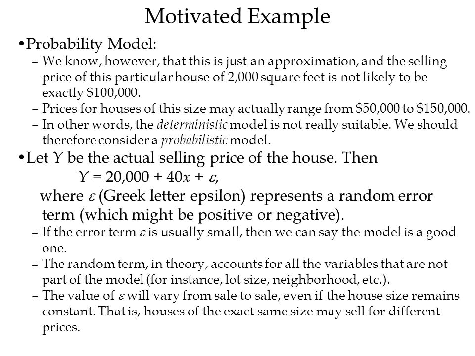 Motivated Example Probability Model:
